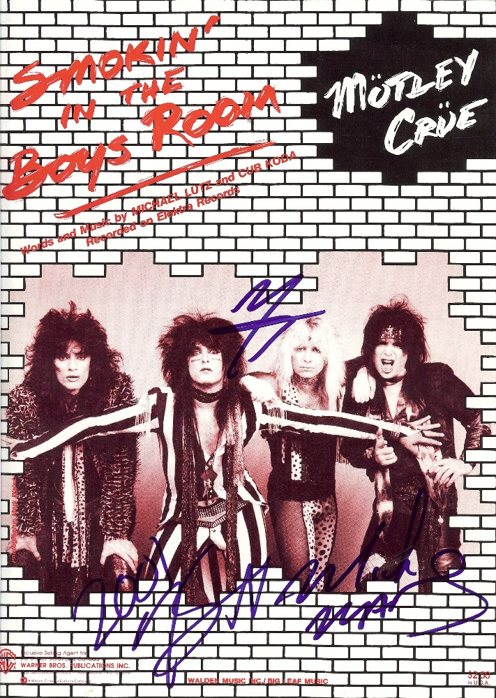 Motley Crue Autograph Signed Sheet Music